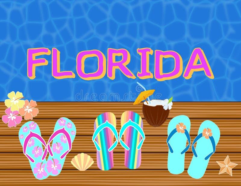 La Florida que pone letras a letras tropicales del vector, con los iconos de la playa en backround del agua azul ilustración del vector