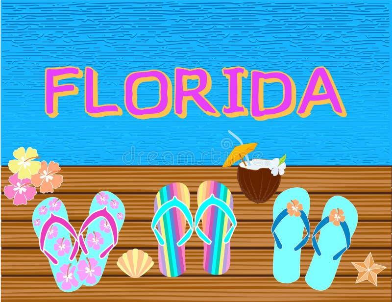 La Floride marquant avec des lettres les lettres tropicales de vecteur, avec des ic?nes de plage sur le backround de l'eau bleue photographie stock