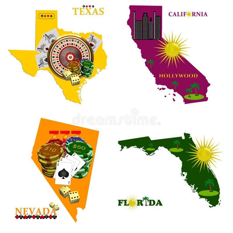 La Floride Nevada, le Texas et la Californie illustration libre de droits