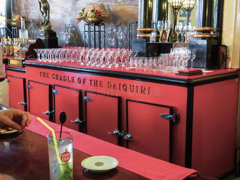 La Floridita酒吧和餐馆叫作代基里酒的摇篮在哈瓦那,古巴 图库摄影