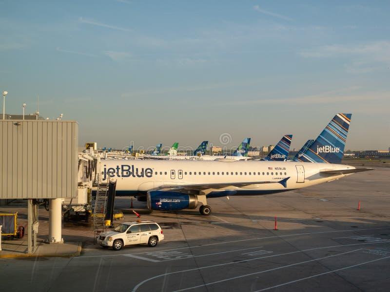 La flota de los aviones de pasajeros de JetBlue que esperan reaprovisiona de combustible en el aeropuerto de JFK foto de archivo libre de regalías