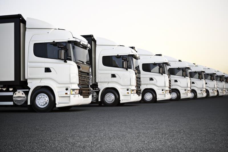 La flota de los camiones comerciales blancos del transporte parqueó en fila listo para la distribución del negocio ilustración del vector