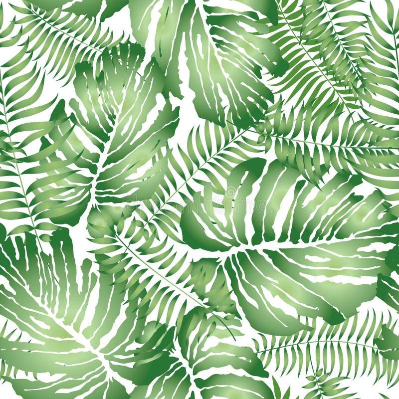 La foglia astratta floreale ha piastrellato il modello Seamles tropicali delle foglie di palma illustrazione di stock