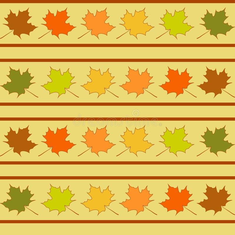 La foglia di acero nelle file modello senza cuciture, foglie wallpaper royalty illustrazione gratis