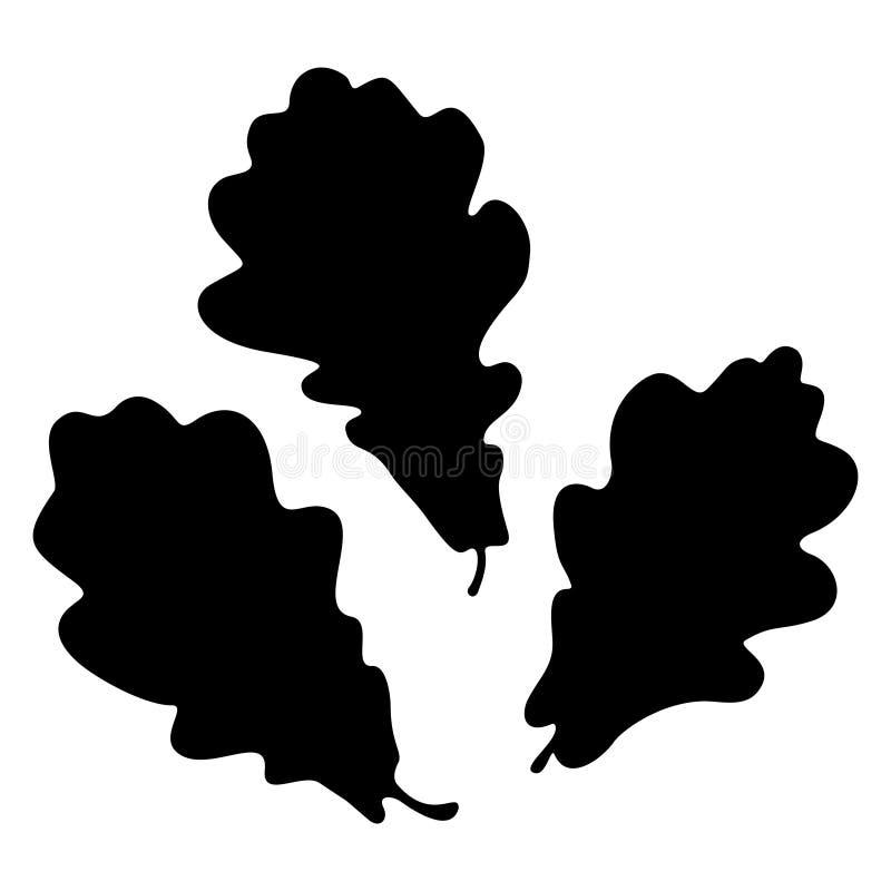 La foglia, la ghianda ed il ramo della quercia hanno isolato la siluetta, l'ecologia stilizzata royalty illustrazione gratis