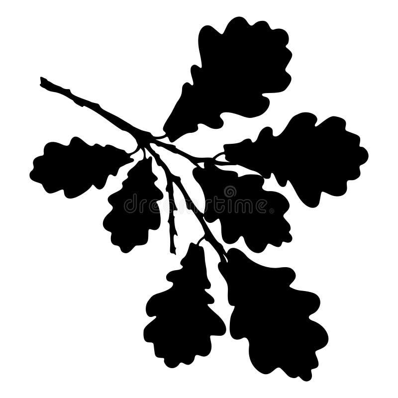 La foglia, la ghianda ed il ramo della quercia hanno isolato la siluetta, l'ecologia stilizzata illustrazione vettoriale