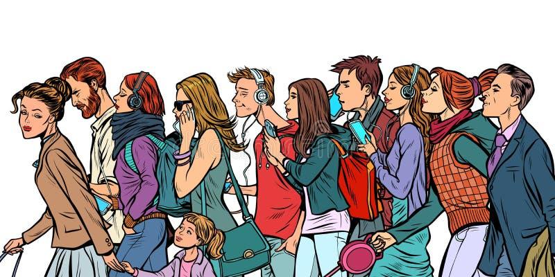 La folla dei pedoni, degli uomini e delle donne illustrazione di stock
