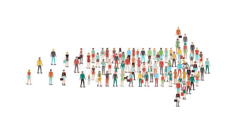 La folla della gente si è riunita in una forma della freccia illustrazione di stock