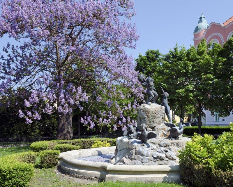 La fontaine de canard à Bratislava photo stock