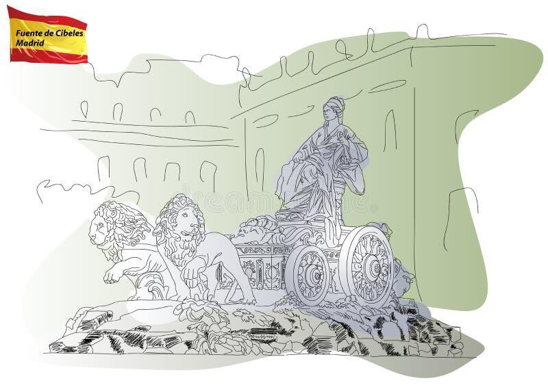 La fontaine de Cybele à Madrid illustration libre de droits