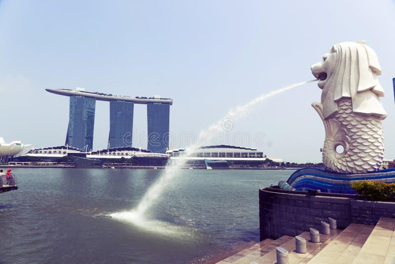 La fontaine de Merlion à Singapour image libre de droits