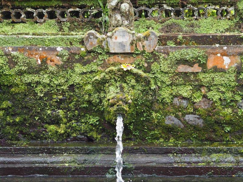 La fontaine de purification dans un temple de Bali a envahi par la mousse, Indonésie photo stock