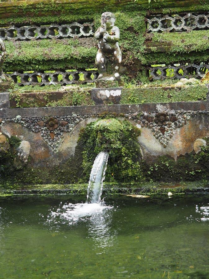La fontaine de purification dans un temple de Bali a envahi par la mousse, Indonésie images stock