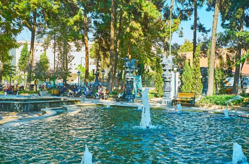La fontaine en parc de Moallem, Téhéran, Iran image stock
