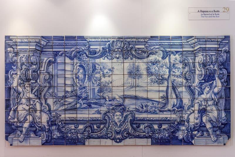 La Fontaine Fables Azulejos Blue tiles Portugal. La Fontaine Fables - The Fox and the Bust illustrated in 18th c. Portuguese Blue Tiles. Sao Vicente de Fora royalty free illustration