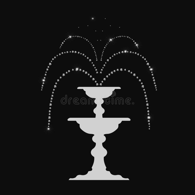 La fontaine magique abstraite avec des diamants, effets rougeoyants, brillent sur un fond noir illustration stock