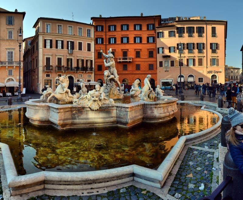 La Fontana del Nettuno of Fontein van Neptunus bij Piazza Navona royalty-vrije stock foto