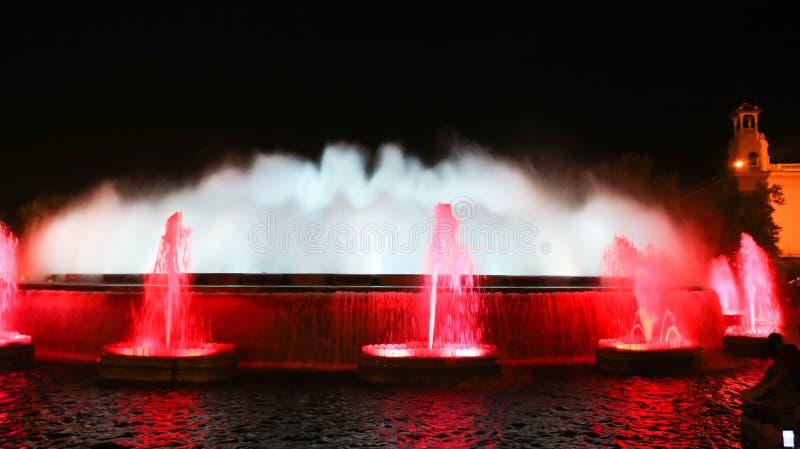La fontana famosa di Montjuic, Barcellona fotografie stock