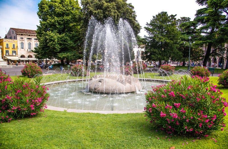 La fontana nel reggiseno della piazza - Verona, Italia fotografia stock libera da diritti