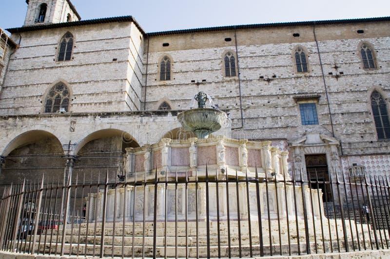La fontana principale, Perugia, Italia. fotografia stock