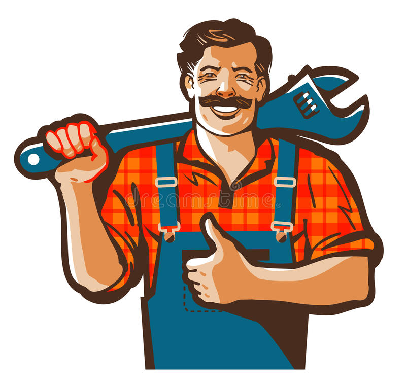 La fontanería mantiene el logotipo del vector trabajador del fontanero o icono de la reparación stock de ilustración