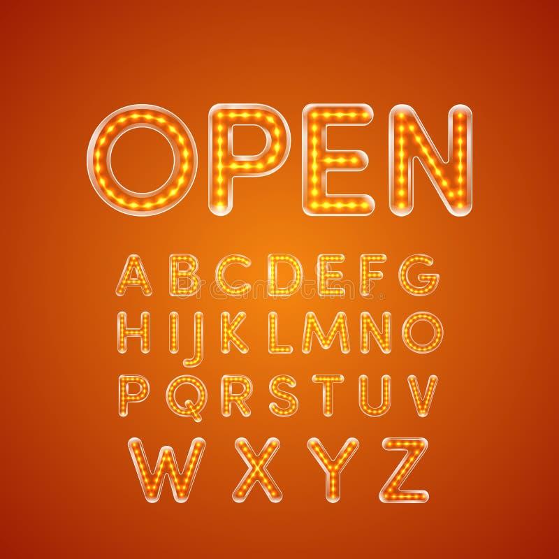 La fonte d'ardore del LED ha illuminato la lettera maiuscola A - Z illustrazione vettoriale