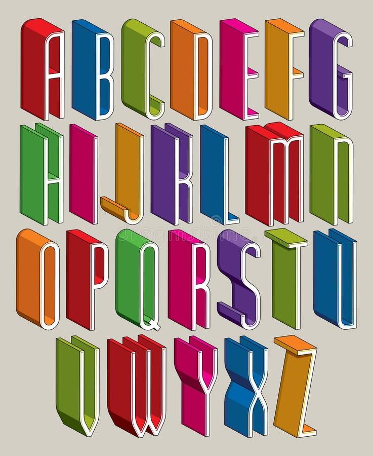 la fonte 3d, vector le lettere sottili alte, alphabe dimensionale geometrico royalty illustrazione gratis