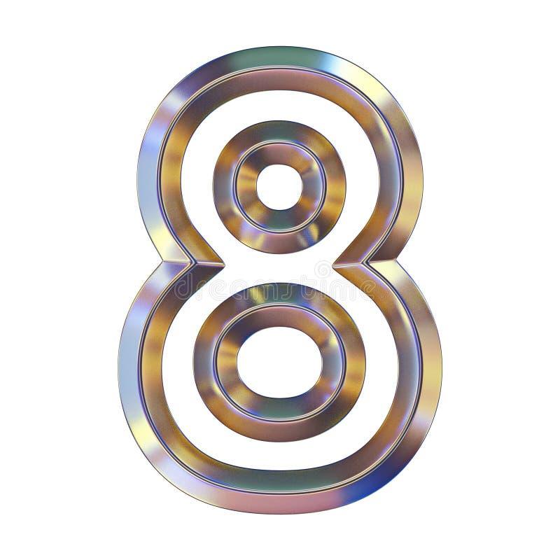 La fonte di Chrome con le riflessioni variopinte numera 8 OTTO 3D illustrazione di stock