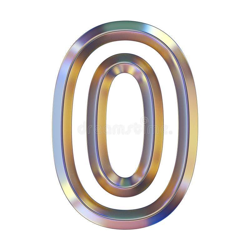 La fonte di Chrome con le riflessioni variopinte numera 0 ZERO 3D illustrazione di stock