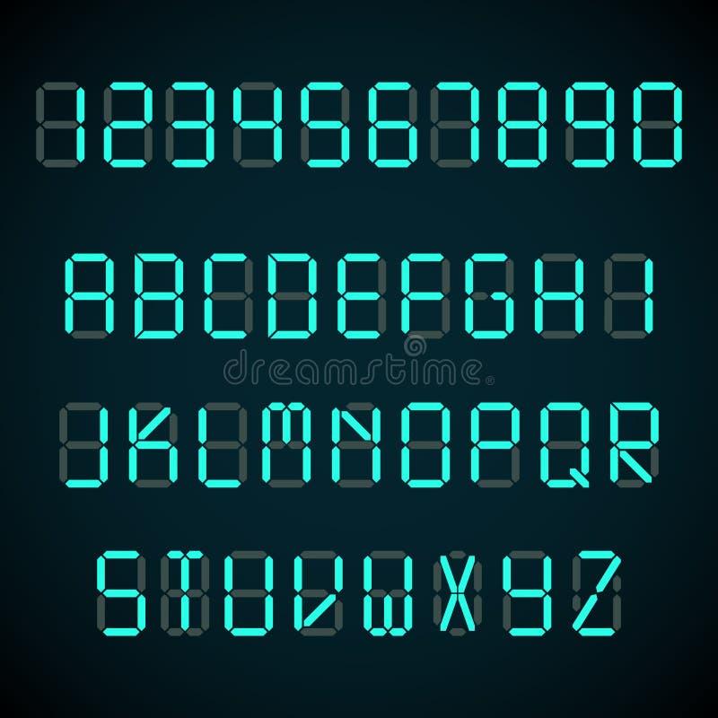 La fonte di Digital, le lettere della sveglia ed i numeri vector l'alfabeto illustrazione di stock