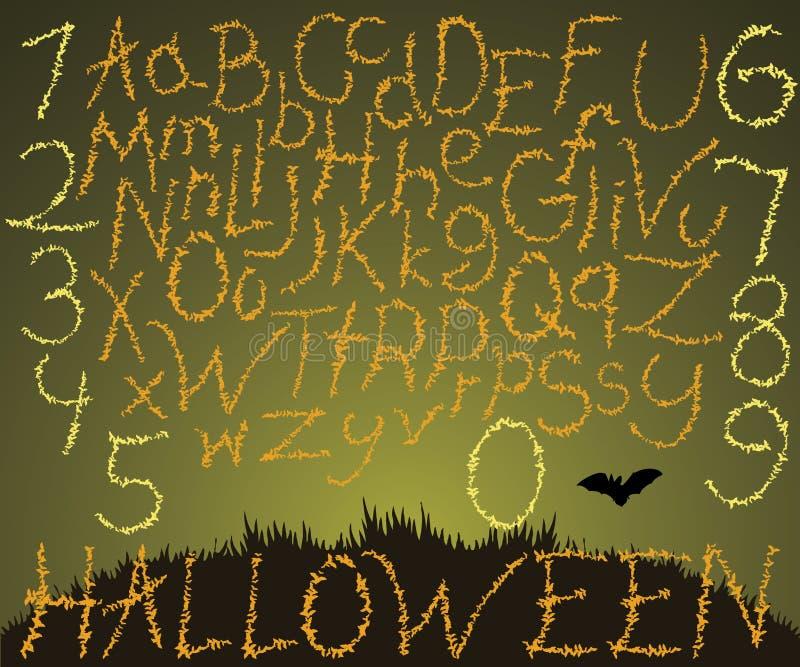 La fonte disegnata a mano, illustrazione di vettore delle lettere calligrafiche per Halloween ha fatto con i pipistrelli di volo illustrazione di stock