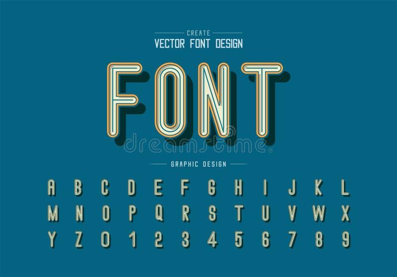 La fonte ed il vettore dell'alfabeto, la progettazione di lettera moderna ed il grafico mandano un sms a sul fondo dell'arancia d illustrazione di stock