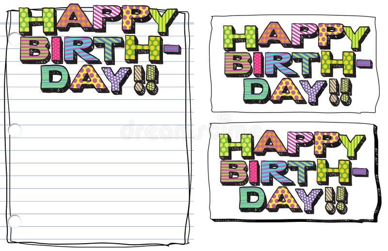 La fonte felice di scarabocchio del biglietto di auguri per il compleanno colora 3D illustrazione vettoriale