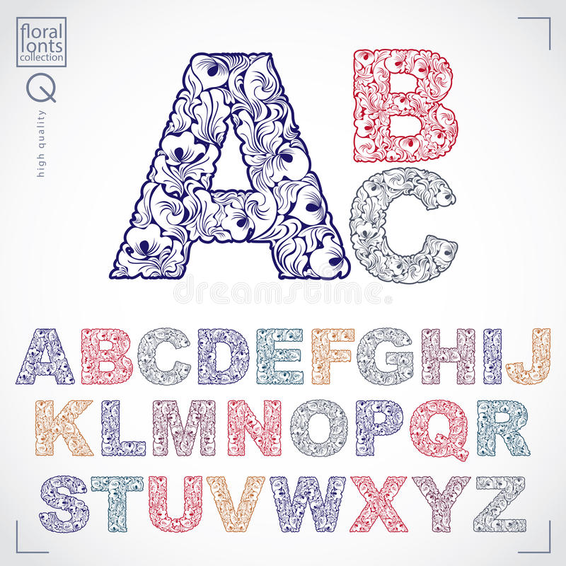 La fonte floreale, lettere capitali dell'alfabeto di vettore disegnato a mano decora royalty illustrazione gratis