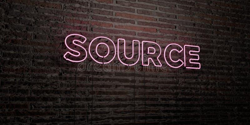 La FONTE - insegna al neon realistica sul fondo del muro di mattoni - 3D ha reso l'immagine di riserva libera della sovranità illustrazione di stock