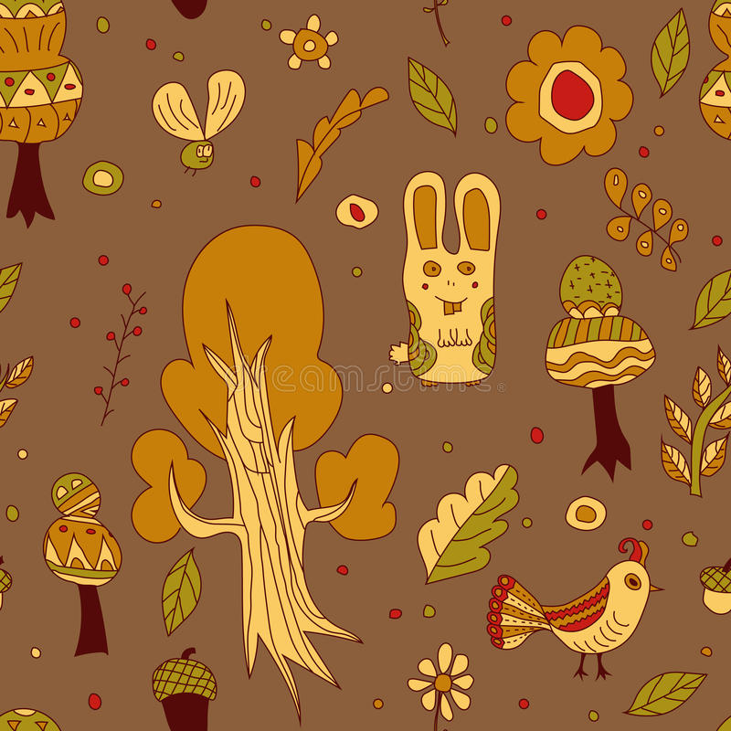 La forêt, animal et végétal, part images stock