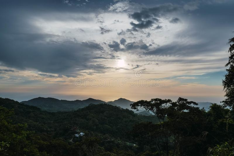La forêt avec des arbres engazonnent le ciel de montagnes d'usines photos stock