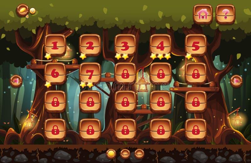 la forêt de féerie la nuit avec des lampes-torches et des exemples des écrans, boutons, barre la progression pour des jeux d'ordi illustration libre de droits