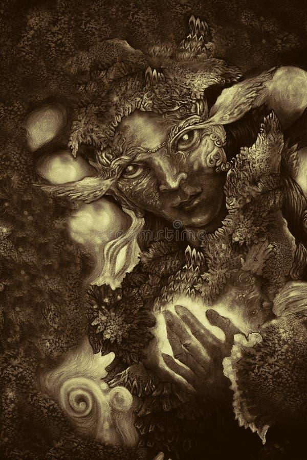 La forêt elven être avec les structures abstraites, illustration monochromatique illustration stock