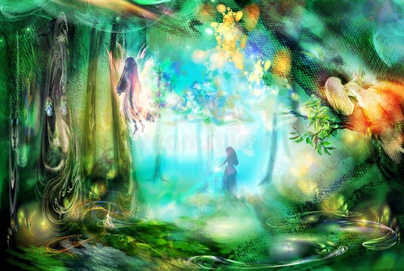 La forêt magique avec des fées illustration de vecteur