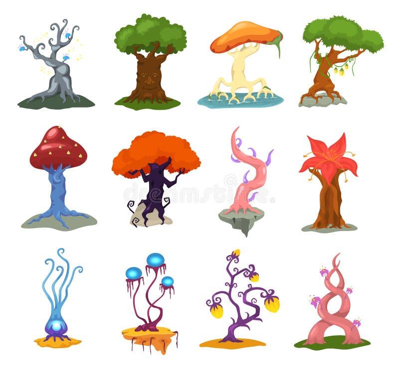 La forêt magique d'imagination de vecteur d'arbre avec des cimes d'arbre de bande dessinée et des usines ou fée magiques fleurit  illustration libre de droits
