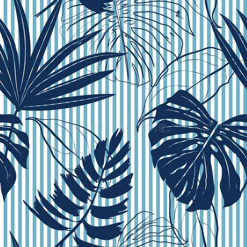 La forêt tropicale de bleu marine d'été laisse l'humeur lumineuse sur le bleu de ciel illustration de vecteur