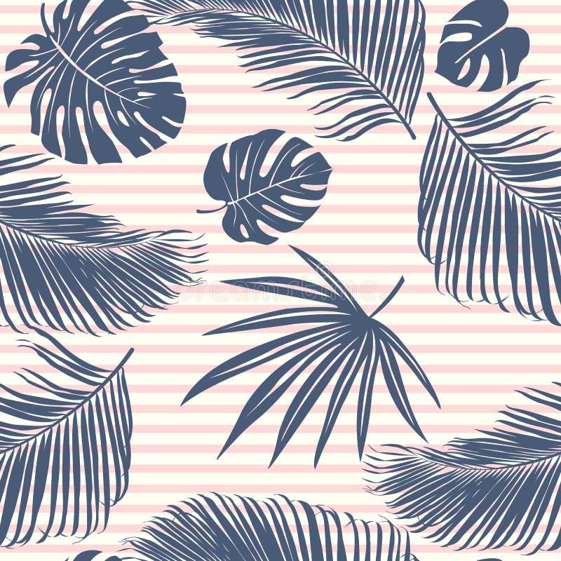 La forêt tropicale de rose de marine d'été laisse l'humeur lumineuse sur le modèle sans couture de rayure bleue de ciel pour le t illustration de vecteur