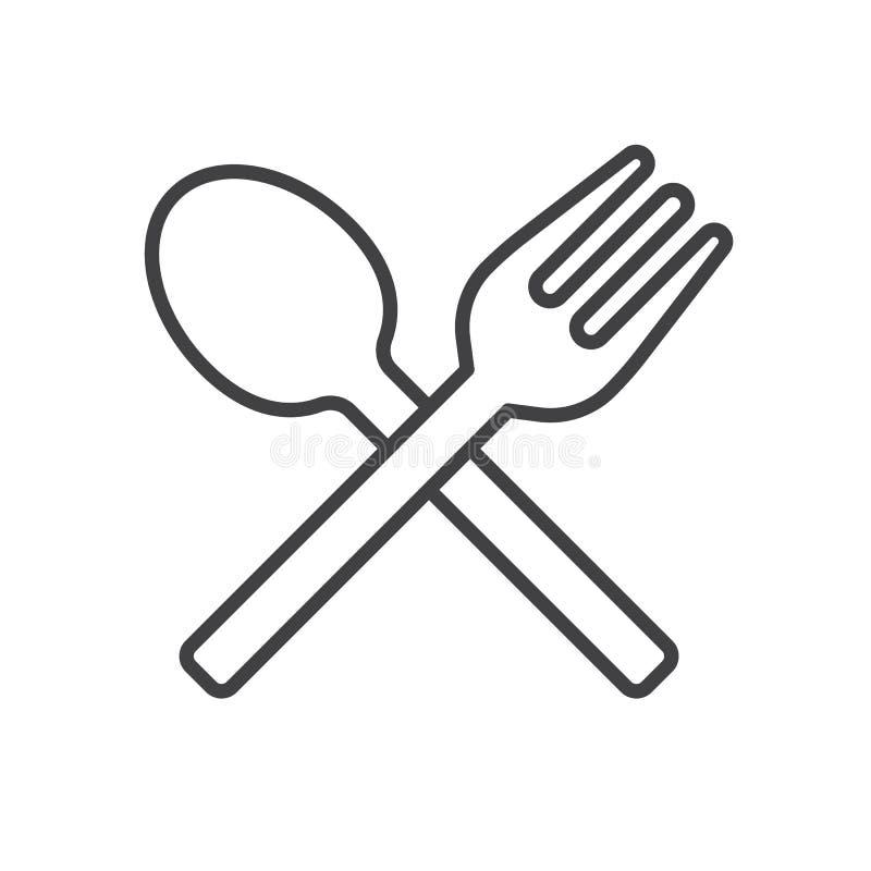 La forchetta ed il cucchiaio allineano l'icona, segno di vettore del profilo, pittogramma lineare di stile isolato su bianco royalty illustrazione gratis