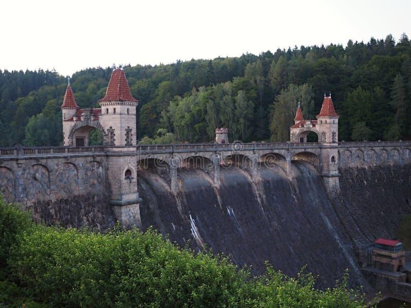 La foresta di regno è un bacino idrico della diga della valle sul fiume Elba costruito nel 1920 È situato vicino al villaggio di  fotografia stock libera da diritti