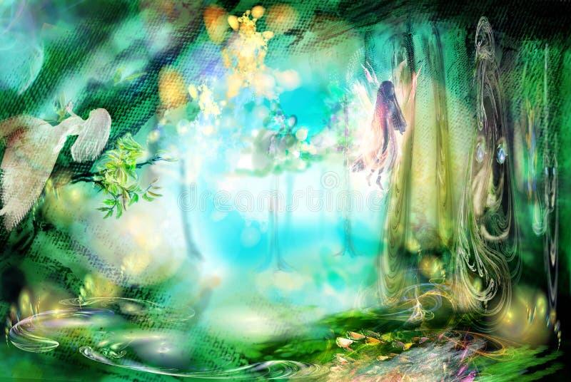 La foresta magica con i fatati illustrazione vettoriale