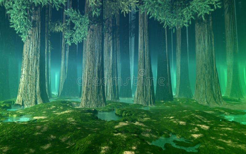 La foresta nebbiosa con gli abeti giganti, colline, ancora innaffia e si inverdisce la prospettiva dell'aria illustrazione vettoriale