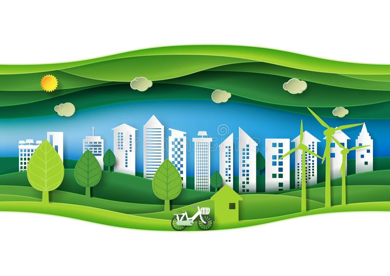 La foresta urbana amichevole di eco verde con lo strato di carta ha tagliato il Na astratto illustrazione vettoriale