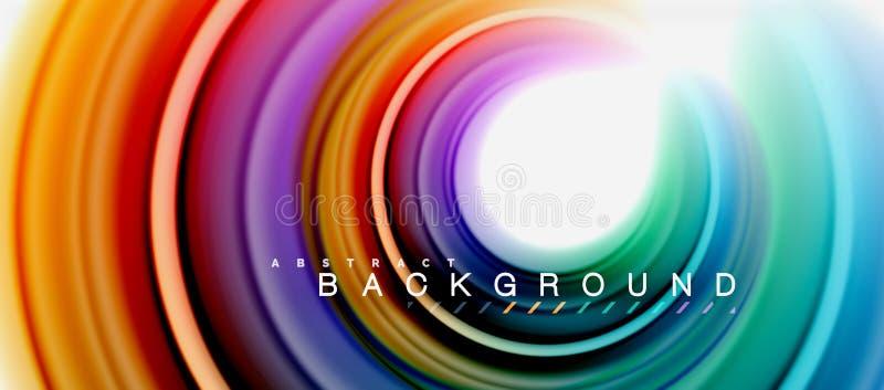 La forma abstracta flúida del remolino del arco iris, los colores líquidos torcidos diseña, mármol colorido o fondo ondulado plás ilustración del vector