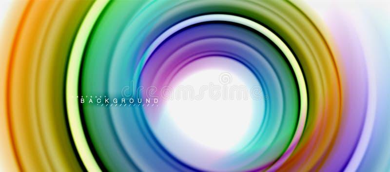 La forma abstracta flúida del remolino del arco iris, los colores líquidos torcidos diseña, mármol colorido o fondo ondulado plás libre illustration